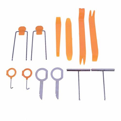 JZK 12 x Auto Radio Audio Stereo Demontage Hebelwerkzeug Set Zierleistenkeile Lösewerkzeug Werkzeug Kit für Auto Innen Armaturenbrett Türverkleidung und Platten, Orange