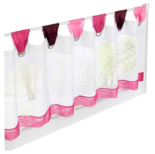BAILEY JO 1er-Pack Scheibengardine Voile Transparent Raffrollo Bunt Kleine Kaffee Vorhang (HxB 45x90cm, pink)