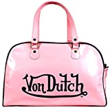 Von Dutch Glossy Faux Leather Bowling Bag Purse with Shoulder Strap, Pink, L
