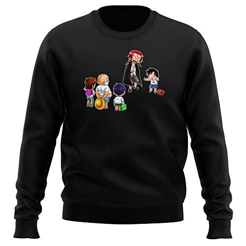 Pull Noir Parodie One Piece - Luffy et Shanks Le Roux - Traduction (Sweatshirt de qualité Premium de Taille XL - imprimé en France)