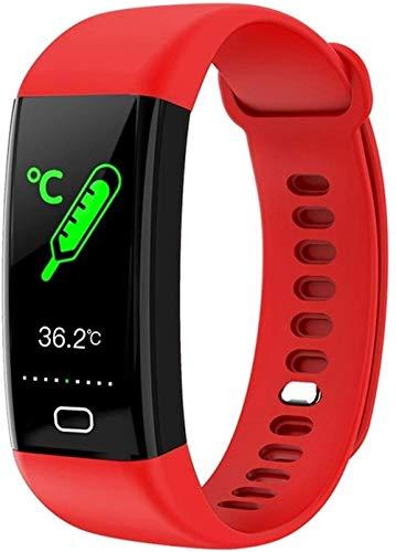 Para Huawei Nova 7 Pro Nova 6 P40 Pro P30 Mate30 Mate Xs Smart Band Pulsera de presión arterial, reloj inteligente con frecuencia cardíaca (color: rosa) - rojo