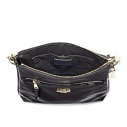 Coach Mae Crossbody Pebble Leather Bag (Black)