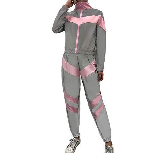 Meijunter Femmes Survêtement Réfléchissant Haute Visibilité Veste Lâche Manteau Pantalon Épissage Ensemble de Survêtement Pink XL