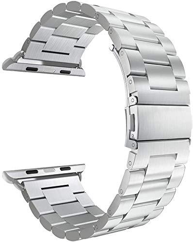 Cinturino in metallo per Apple Watch iWatch Series 2 3 4 5 6 colori e dimensioni a scelta e Acciaio inossidabile, colore: argento