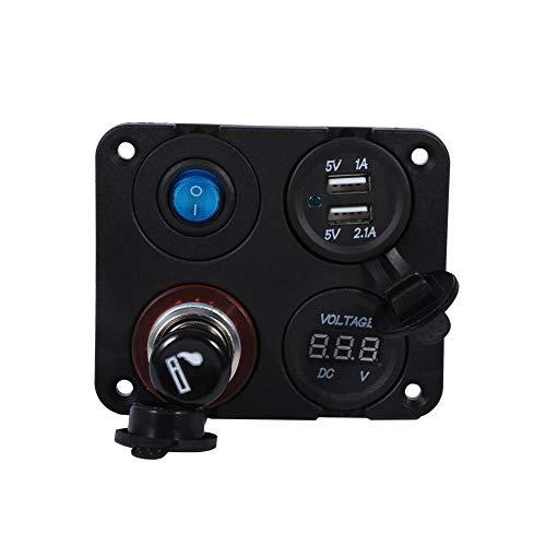 Keenso Prise d'alimentation 12 V - Double chargeur USB - Panneau de commutation à bouton marche/arrêt - Panneau à 4 trous pour voiture, bateau, camion, moto, camping-car