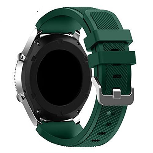 LXFFCOK Correa de silicona inteligente para reloj Samsung Galaxy 46 mm/3 45 mm para Gear S3 Frontier Huawei Watch GT/2/2E 22 mm (Color de la correa: verde marino, ancho de la correa: 22 mm)