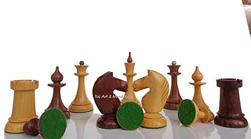 Generic Solo Piezas de ajedrez ponderadas de la URSS Rusa | Juego de ajedrez ponderado reproducido letón soviético de los años 50 en Palo de Rosa Dorado y boj Envejecido -4.0  'Rey