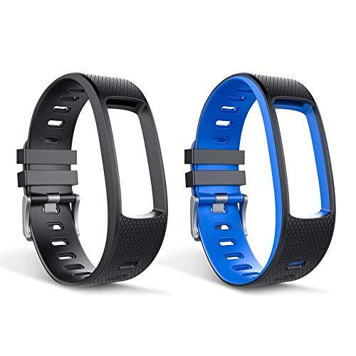 endubro Ersatzarmband für i3 HR | i6 HR | i6 HR C | i7 HR Fitness Tracker & viele Weitere Modelle aus hautfreundlichem TPU & nickelfreiem Verschluss (Set Schwarz + Schwarz/Blau)