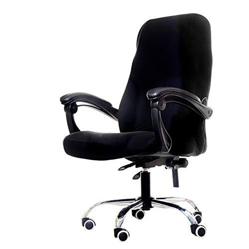 GETMOREBEAUTY Funda estampada para silla de oficina, funda para silla de escritorio grande para ordenador elástica piel lavable con respaldo (negro, grande)