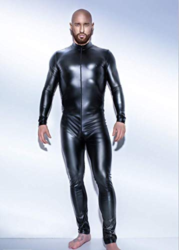 Sexy Männer Schwarz Lackleder Overall Größe S-XXXXXL Zip Trikot Body Lack Latex Sex Anzug Schlafanzügesexy Männer,XXL