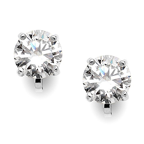 Mariell Cubic Zirconia Crystal Wedding Clip On Stud Earrings for Women, 2 Carat 8mm CZ, Platinum Plated