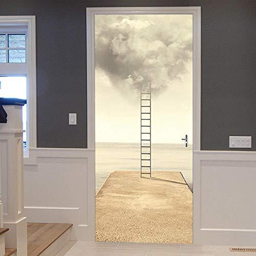 Deurstickers Creatieve Muurstickers Ladder Persoonlijkheid Deur Familie Decoratie Slaapkamer Woonkamer Muurschildering-77X200Cm