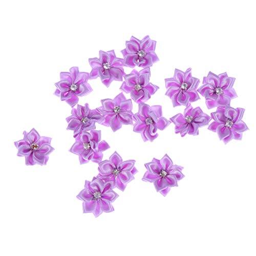 BESPORTBLE 50 piezas de flores de tela artificial 8 pétalos suministros de artesanía decoración de prendas bandas para el cabello 3 * 3 cm