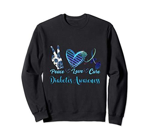 Peace Love Cure Blue Ribbon Diabetes Awareness Women's Gift Sweatshirt