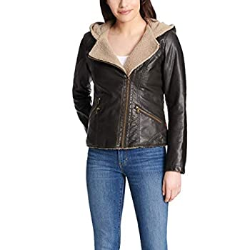 Levi s Women s Assymetrical Sherpa Lined Faux Fur Jacket Dark Brown X-Small
