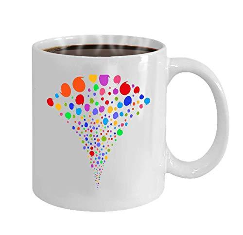 Tassen Kaffeetasse Mehrfarbiges Zitat Burst Fountain Objektbrunnen kombiniert aus zufälligen Zitat-Piktogrammen als Feuerwerk Tasse für Büro und Zuhause