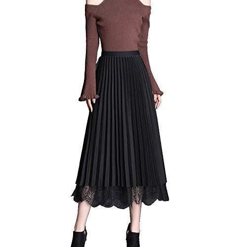 GCC Falda Midi De Encaje Plisado para Mujer Otoño E Invierno Cintura Alta A-Palabra Falda Mullida,Usada En Ambos Lados Black-OneSize