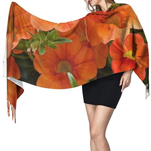 Hermosas flores de petunia naranja para mujer, cálido chal largo, bufandas grandes, sensación de...