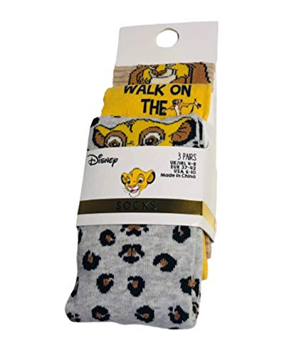 Disney The Lion King - Calcetines para mujer, 3 pares, diferentes diseños, tallas 4-8