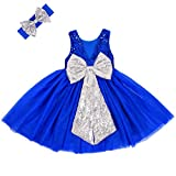 Cilucu Flower Girl Dress Baby Toddlers Sequin Dress Tutu Kids Party Dress Bridesmaid Wedding Gown Birthday Dress Royal Blue Silver 4T-5T
