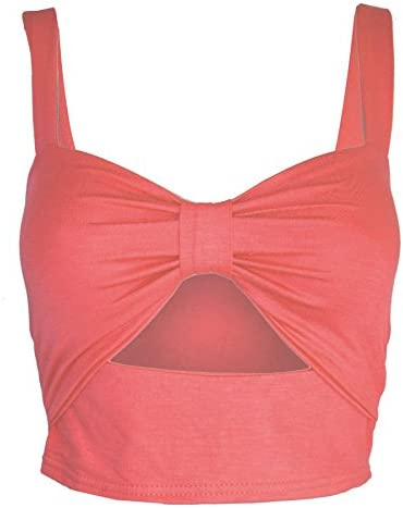 Oops Outlet Ladies Strappy Bow Knot Front Cut Out Vest T Shirt Boob Tube Bra let