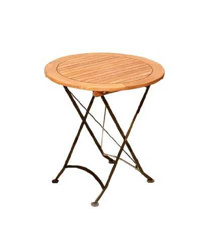 MERXX Tisch Schlossgarten aus Eukalyptus und Stahl, klappbar, ca. Ø 70 cm
