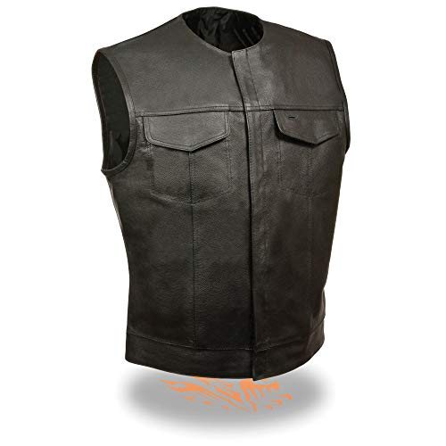 Milwaukee Leather LKM3721 Men's Black Leather Collarless Concealed Snap Closure Club Vest - X-Large