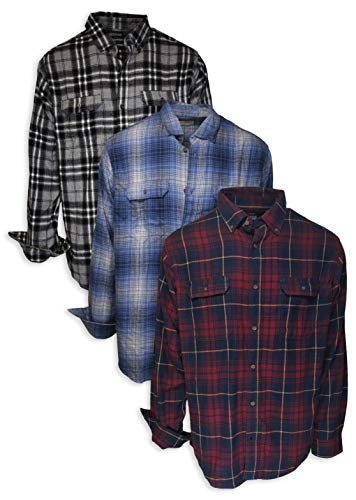 Andrew Scott Men's Button Down Regular Fit Long Sleeve Plaid Flannel Casual Shirts -Pack of 3 at Amazon Men's Clothing store