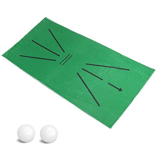 Golf Alfombrilla de Práctica para Detección de Swing Bateo, Mini Alfombra Portátil de Entrenamiento de Golf con Dos Pelotas, Esterilla para Práctica de Golf con Bandeja de Base de Goma