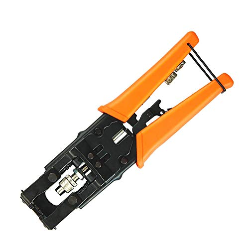 Deluxe Coax Cable Crimping Tool Compression Connector Adjustable Crimper for F BNC RCA, RG58 RG59 RG6, Universal Multifunctional Wire Cutters