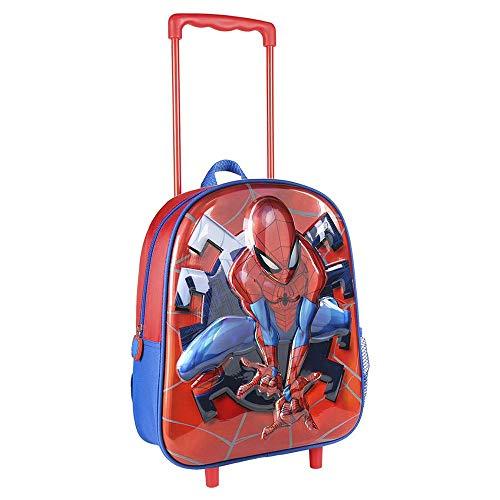 CERDA Mochila Carro Infantil Metalizada, Zaino Trolley 3D Spiderman Metallico Unisex-Bambini, multicolore, 26.0 X 31.0 X 10.0 CM