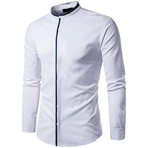 Mens Long Sleeve Shirt Leisure with Stand Collar Slim Fit Solid Color Shirt Men Spring Autumn New Classic Button Tops Lightweight Soft Shirt Formal Business Casual Wedding Party Work Shirt XXL