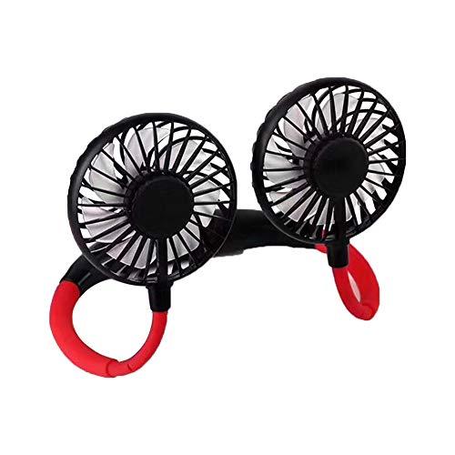 Asiproper Fan Neck Fan Handsfree USB Fan Portable Fan with 3 Speed Adjustable Personal Hanging Fan for Hiking, Running, Outdoor Sports negro Negro