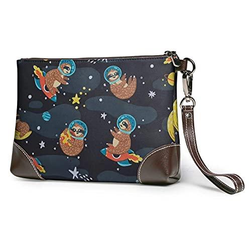 Yaxinduobao Lindo bebé perezosos durmiendo bolso de mano estampado bolso de mano de cuero desmontable bolso de mano para mujer