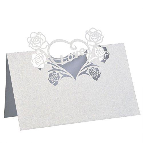 Oulii Tischkarte für Hochzeit mit Herz und Rosen, 50 Stück