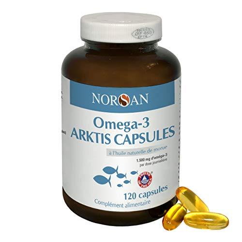 NORSAN Oméga 3 Gélules - ARKTIS I 120 Capsules I 6000mg Huile de Morue I 1500mg Oméga 3 (720mg DHA, 480mg EPA) I 100% naturelle I Hautement dosée – non concentrée