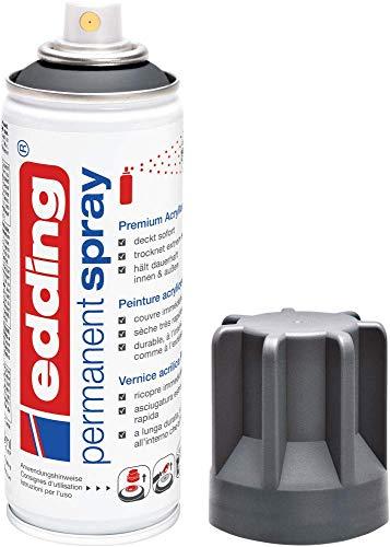 edding 5200 Permanent-Spray - anthrazit matt - 200 ml - Acryllack zum Lackieren und Dekorieren von Glas, Metall, Holz, Keramik, lackierb. Kunststoff, Leinwand, u. v. m. - Sprühfarbe