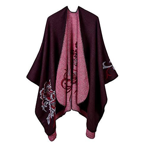 THTHT Sjaal Fashion Dames sjaal Verdikking Flower Jacquard warm en lange herfst en winter Dual Use-Classic rode wijn