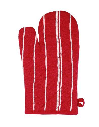 Stuco trends textile 1111-1, 1 Stück Ofenhandschuh gestreift, circa 19 x 32 cm, 100% Baumwolle, rot-weiß