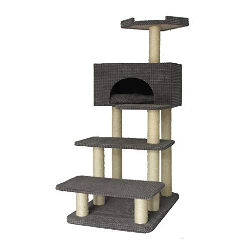 HXGL-Cat klimrek Cat Activity Trees krabmeubels Flatgebouwen Pet Toy Supplies Stabiele Entertainment Ladder Large sisal eenvoudig te monteren (Color : Gray)