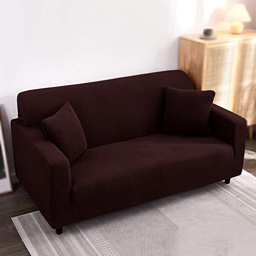 JRAVELR Sofa Überwürfe Super Stretch Couch Bezug Universal Sofabezüge Jacquard Spandex Pet Dog Möbel Protector Fitted Couch Schonbezug Brown 2 Seats