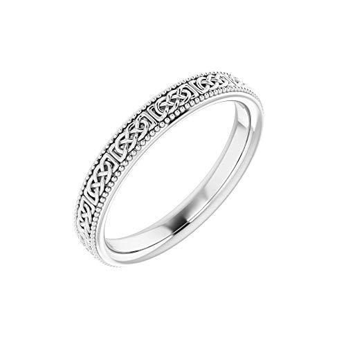 Solid 14k White Gold 3mm Celtic-Inspired Milgrain Wedding Band Ring - Size 5