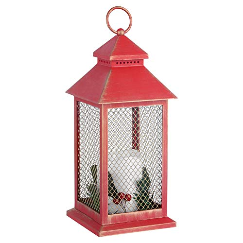 Red Flameless Candle Decoration Lantern, 12' Tall Decorative Lantern Lights, Outdoor Hanging Vintage Candle Lantern, Rustic Home Decorations, Battrry Powered, Including Pillar Plastic Candle and Wreat