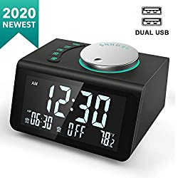 ANJANK Small Digital Alarm Clock Radio - FM Radio,Dual USB Charging Ports,Dual Alarms with 7 Alarm Sounds,Adjustable Volume,Temperature,5 Level Brightness Dimmer,Battery Backup,Bedrooms Sleep Timer