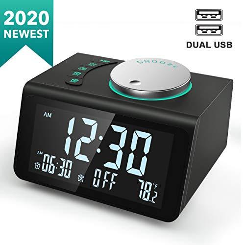 ANJANK Small Digital Alarm Clock Radio - FM Radio,Dual USB Charging Ports,Dual Alarms with 7 Alarm Sounds,Adjustable Volume,Temperature,5 Level Brightness Dimmer,Battery Backup,Bedrooms Sleep Timer