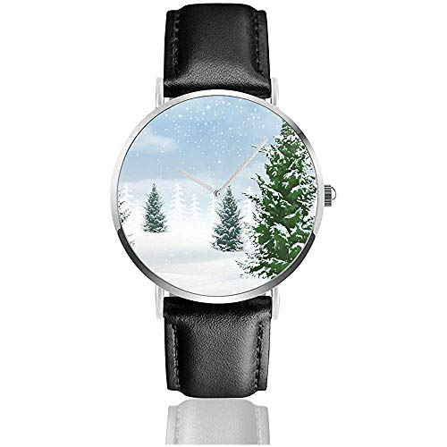 Monkey Hoo Winter Landscape Abeto Relojes para Mujer Hombre 's Business Casual...