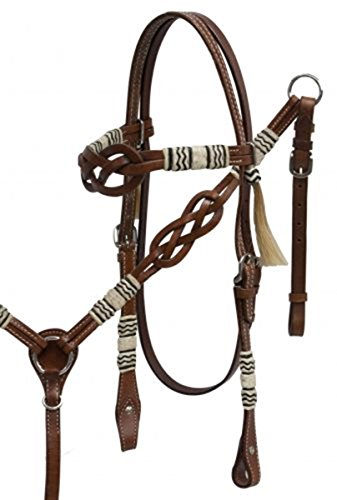 Showman Celtic Knot Headstall and Breast Collar Set with Rawhide Braided Accents.