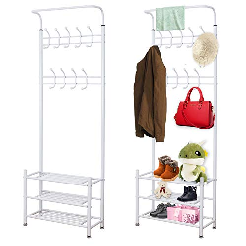 PetHot 185cm Coat Stand Rack Heavy Duty Hat Clothes Stand Shoe Rack with 18 Hanging Hooks Shelf Storage Multi Function
