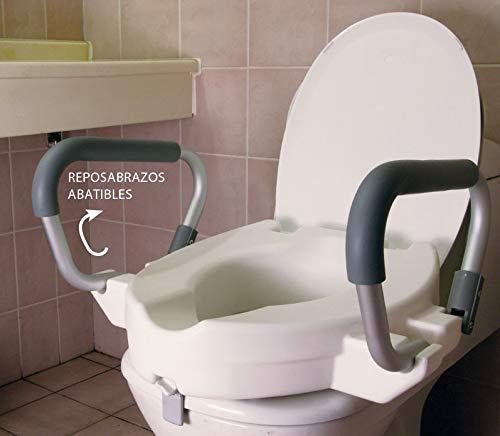 Elevador WC con Reposabrazos Abatibles | Altura 12 Centímetros | Asiento con Asas Plegables para Adultos | Alzador de Indoro Portátil Con Tapa | Peso soportado 150 Kilogramos