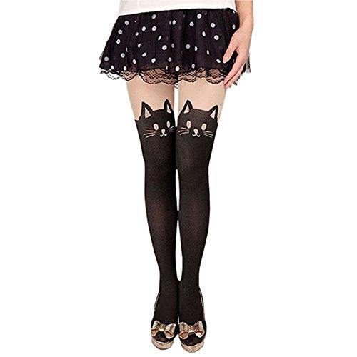 DIVISTAR Medias Medias de Legging con el Tatuaje de la Medias de la Cola del Gato de Mujer, Talla única (85-98cm), Negro